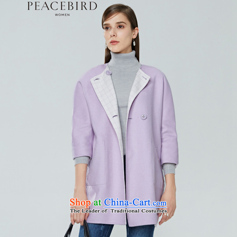 Women Peacebird 2015 winter clothing new products as soon as possible on both sides of the Commonwealth Electoral wear for coats A2AA44129 purple plaid燤