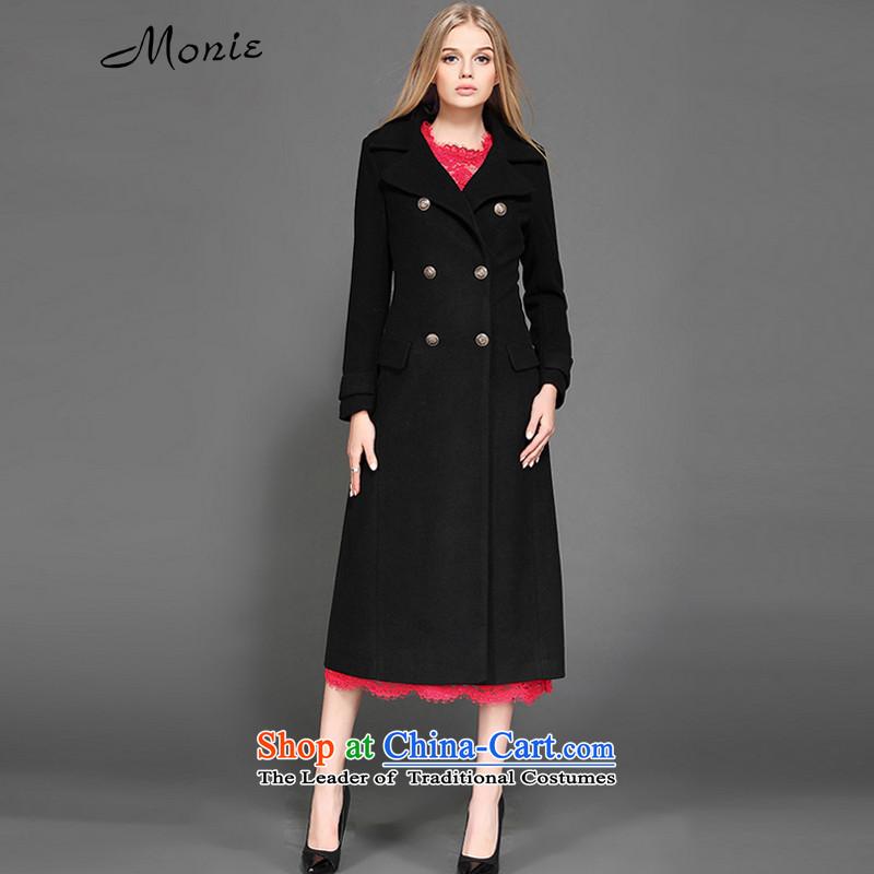 Monie 2015 winter clothing new Korean double-Aura-long hair Sau San? jacket woolen coatM5751 femaleblackL