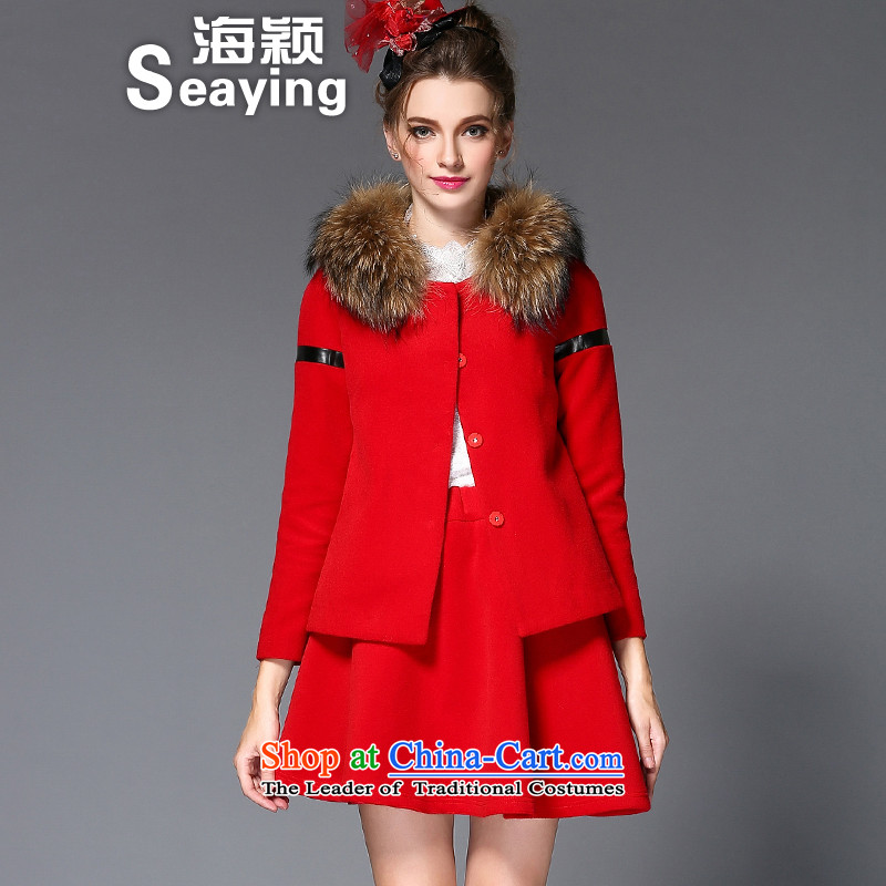 2015 Autumn and winter sea from new product codes for women in Europe Two Kits For Gross Gross? A field like Susy Nagle jacket body skirt kit Q221 female Red2XL