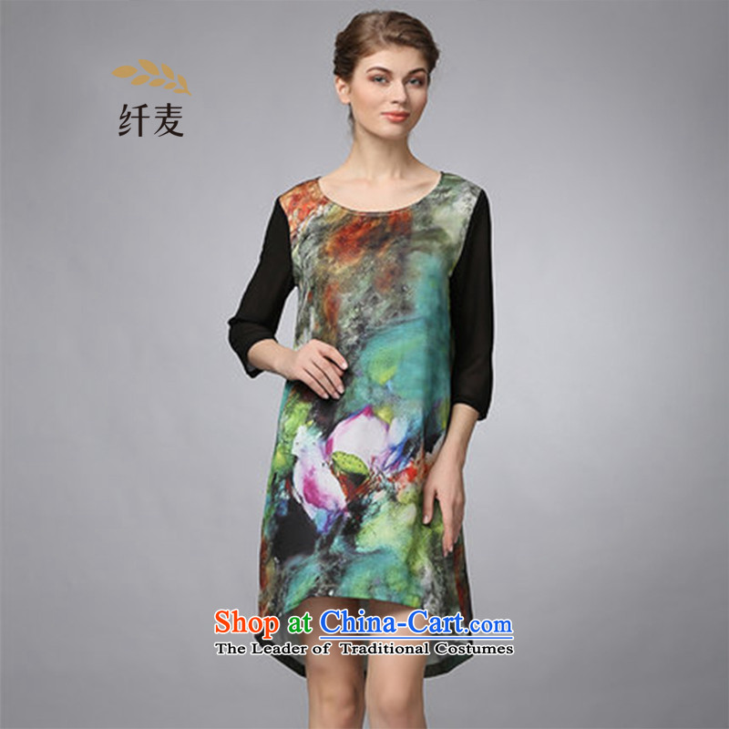 The former Yugoslavia Migdal cooked larger fall 2015 new stamp in round-neck collar cuff dresses green�L 353106222