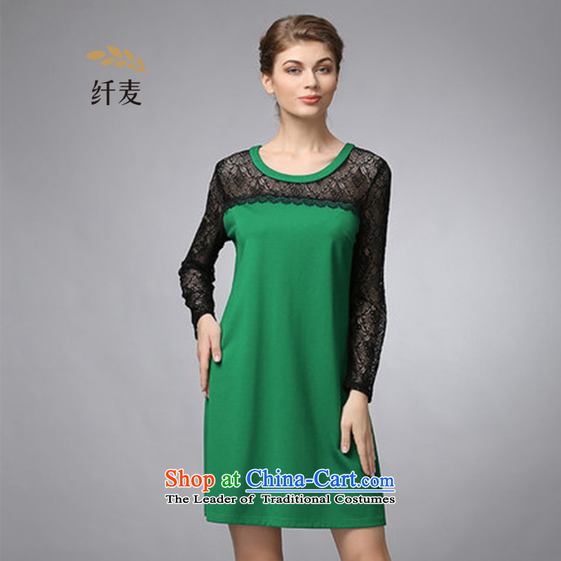 The former Yugoslavia Migdal cooked larger fall 2015 new thick MM stylish round-neck collar lace dresses 353105229 long-sleeved green�L