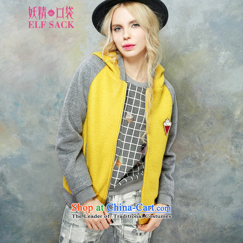 The pockets of witch 999 pieces of new 2015 wind Winter Female Street knocked with cap color jacket is casual baseball gross PB154213 light yellow velvet treated polyester M
