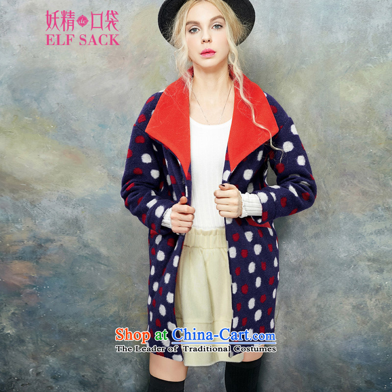 The pockets of witch-wave point striker爊ew 2015 Winter wild minimalist retro plane collision color wave point so sweet girl�42996 gross coats燾luster green and red燬