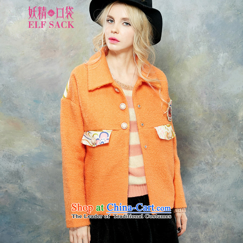 The pockets of witch vellum poem by 2015 new winter clothing sweet College video thin knocked color stitching Wild Hair? PB1542124 jacket cooked orange M