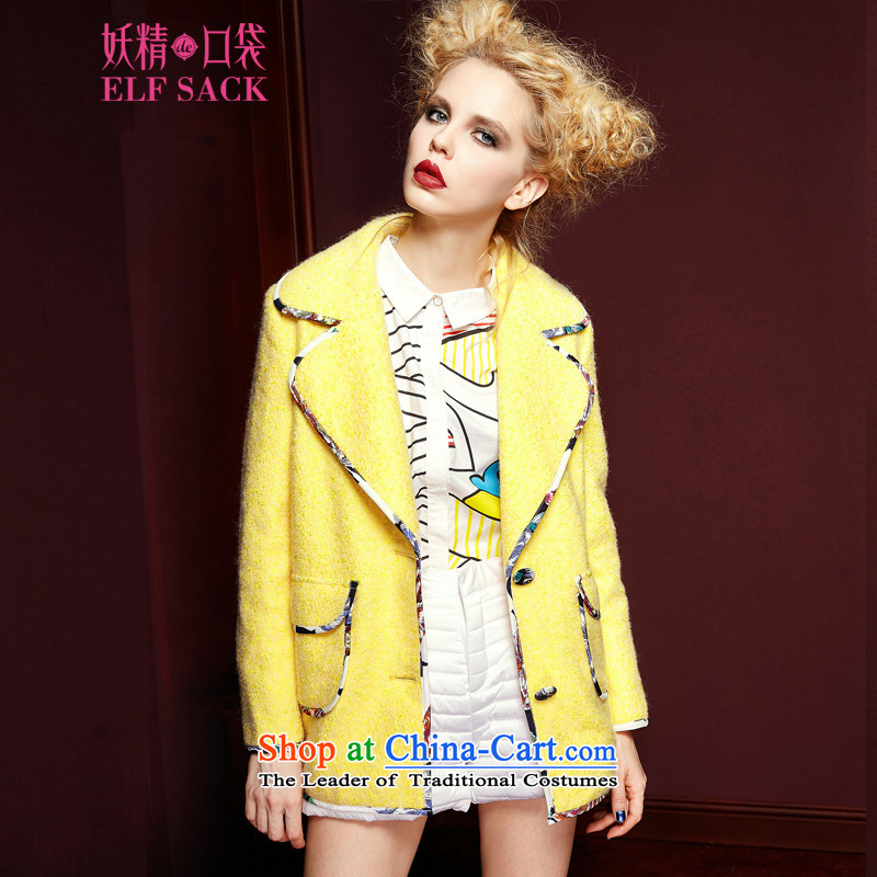 The pockets of witch cartoonist�15 New Winter Female sweet stylish package side stamp lapel jacket 1542069 gross? chicken WONG燬