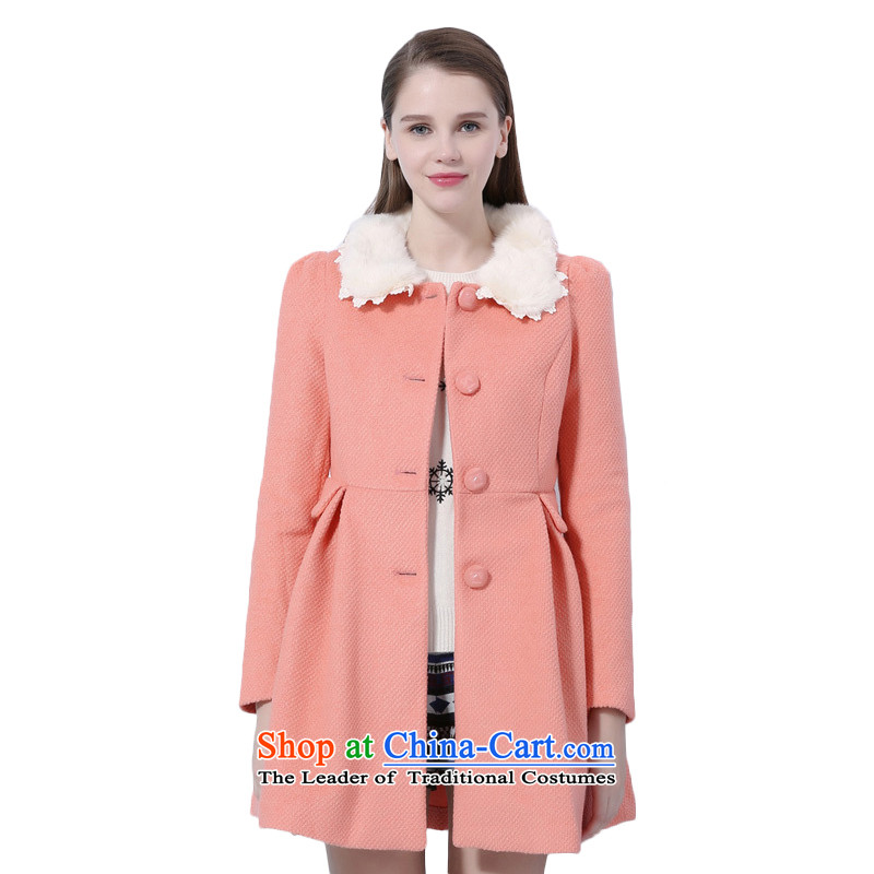 Chaplain who winter female Korean ladies hair for bubbles cuff gross? female jacket Sau San light pink, orange 155_80A_S