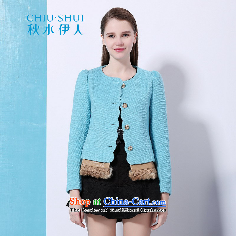 Chaplain who Winter Female stylish round-neck collar petals and fur edge quality stitching minimalist wild blue jacket?155_80A_S gross?