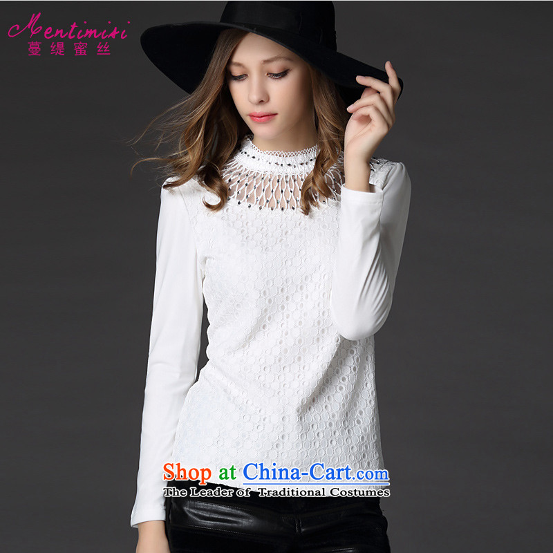 Golden Harvest large population honey economy women forming the Netherlands autumn and winter nail pearl yarn web graphics plus thin-Sau San long-sleeved T-shirt?1226?large white 5XL code around 922.747 200