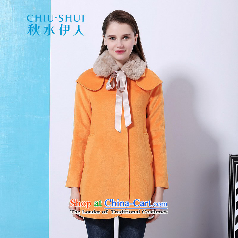 Chaplain who winter clothing new women's Romantic Lady rabbit hair for a transition in the long coats jacket orange?165_88A_L