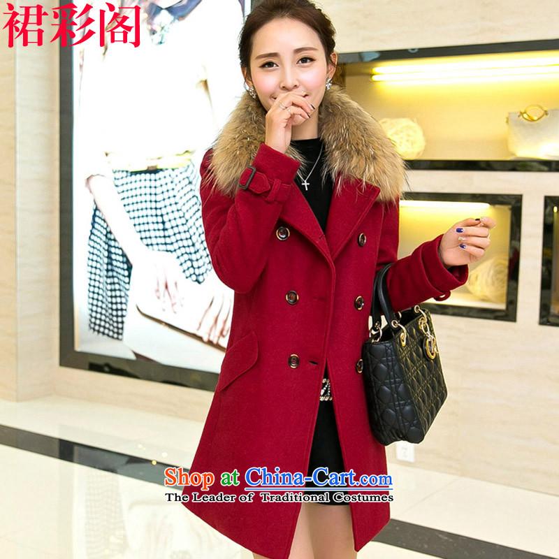 The Multimedia Room 2015 skirt for winter new Korean version of Sau San over the medium to longer term for women gross? 3371 wine red cloak?XL