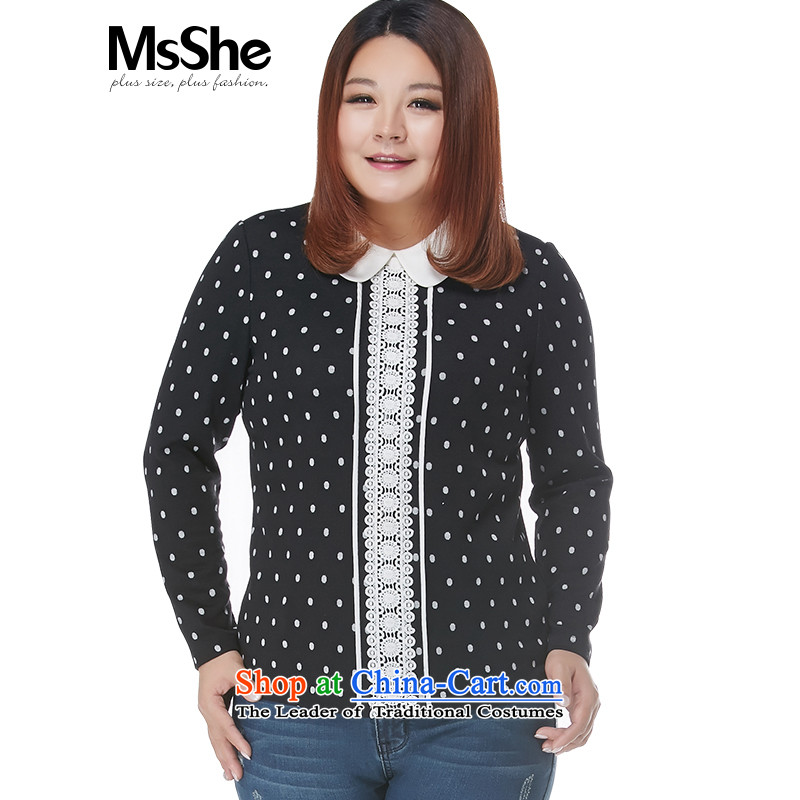 Msshe xl women 2015 new winter clothing thick MM Color Plane Collision dolls collar lace stitching 11067 black white shirt 5XL