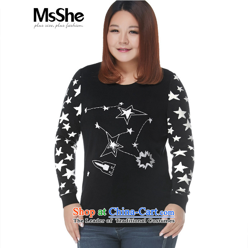 Msshe xl women 2015 new winter clothing thick MM Wool Textile Embroidery stars stitching sweater 11052 1PK-21 Wire black white flowers6XL
