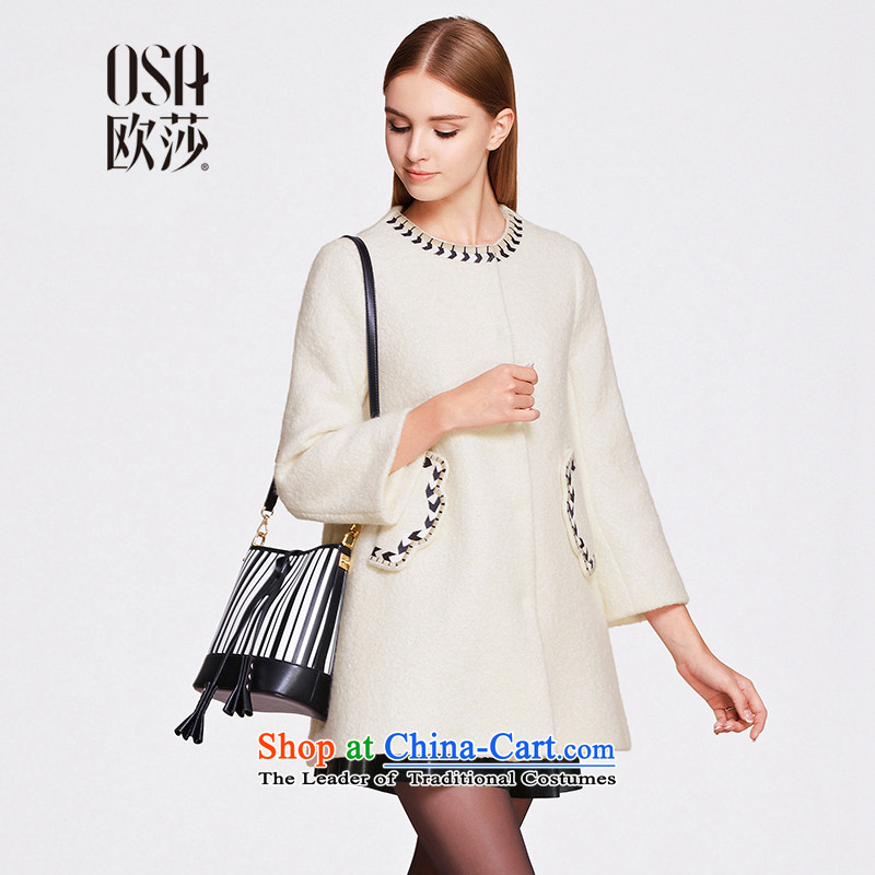 The OSA EURO 2015 Winter New Windsor female long-sleeved jacket Ms. gross? a wool coat SD525005 m WhiteL