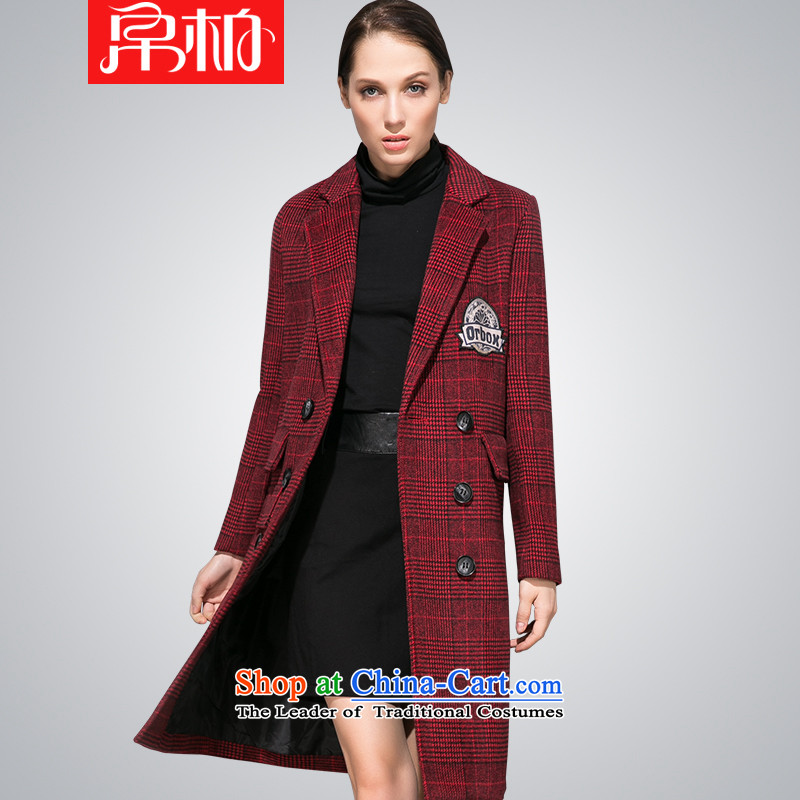8P 2015 winter new double-gross version Korean jacket? Long Sau San Plaid a wool coat girl English thoroughbred,燣