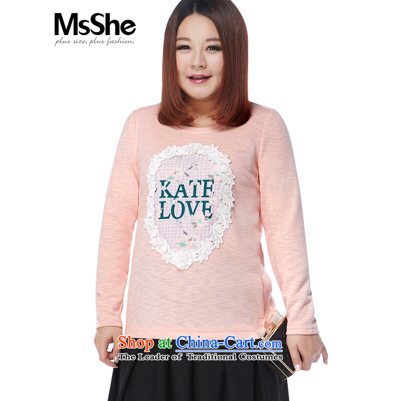 Msshe xl women 2015 new winter clothing lady wind lace cotton tee shirt 11056 MM thick coated pink�L