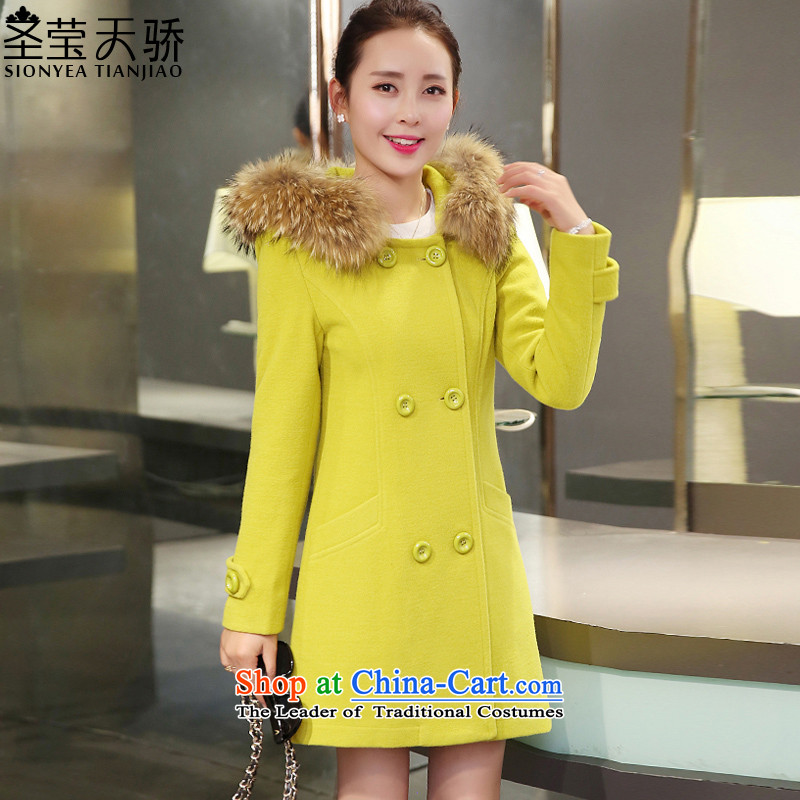 The holy day average 2015 Ying winter clothing new Korean version of large numbers of ladies in gross? jacket long hair collar cap Sau San a wool coat S638 YELLOW燲XL