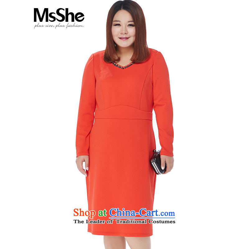 Msshe xl women 2015 new autumn replacing Foutune of a swing nail pearl V-Neck dresses thick MM video thin 10842 Orange Red�L