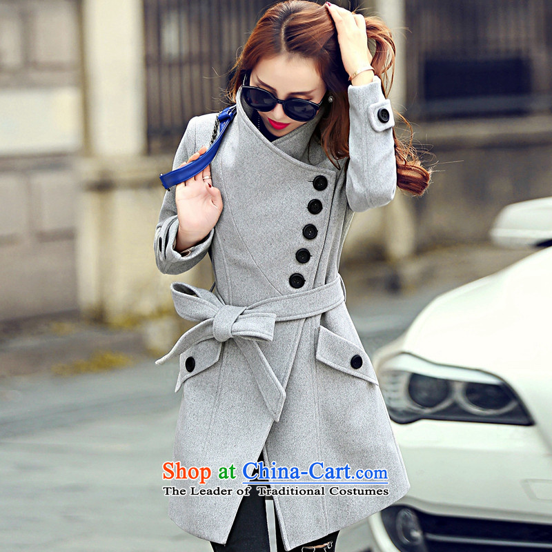 In the Hyatt autumn and winter in new long graphics thin Sau San tether collar a wool coat PO Gray燣