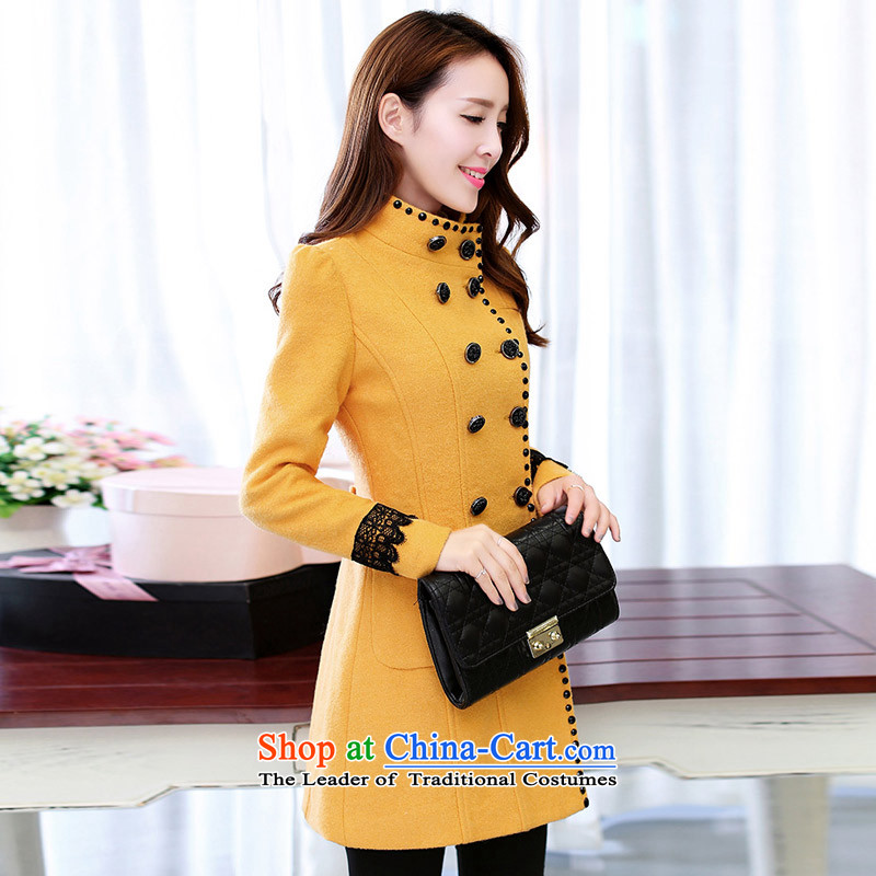 In the new paragraph Yue gross?   in the Korean version of the jacket long_? The coats female jacket POO Yellow M