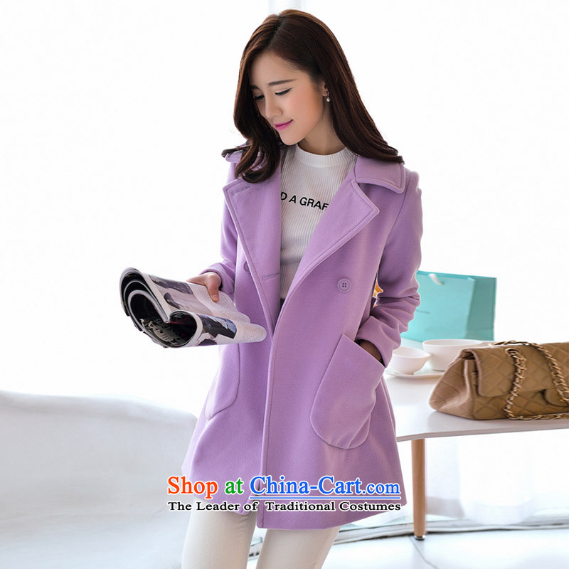 In the autumn of Yue new graphics in Sau San long thin lapel gross? jacket PO PURPLE S