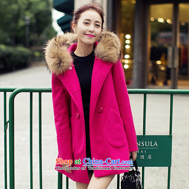 In the autumn of Yue new gross? double-jacket Korean version long overcoat POO IN RED M