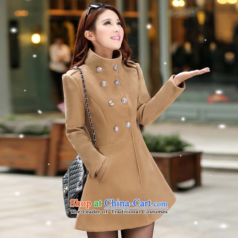 2015 Autumn and winter coats new thick? female Korean double-collar in long-sleeved jacket is long hair燾olor and 561燤