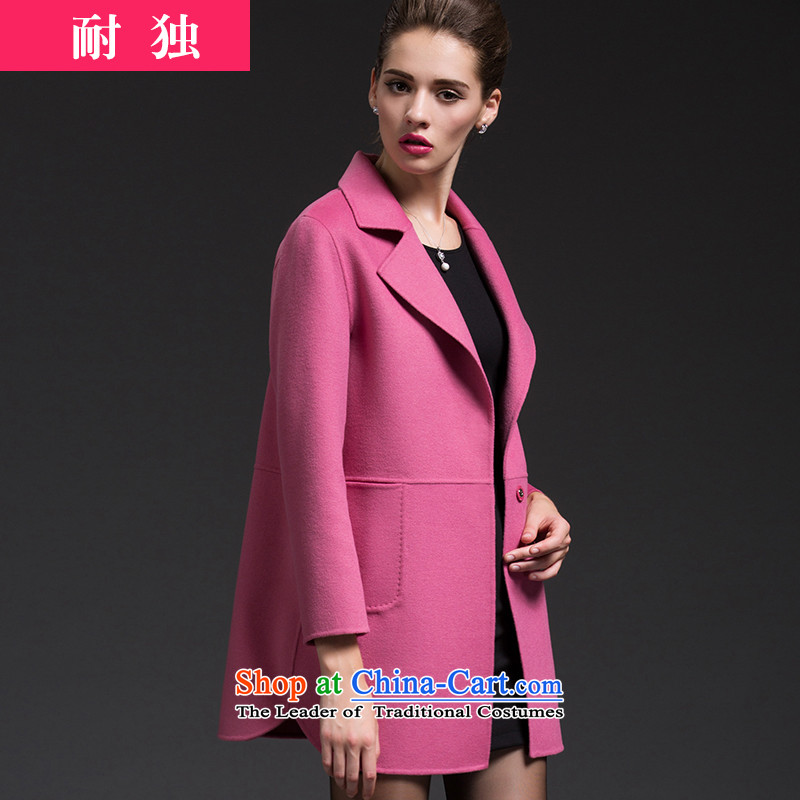 Resistant to CIS2015 Fall/Winter Collections Korean version of the new long Cardigan Fleece Jacket?   a wool coat cashmere overcoat stylish wind LO female pinkM