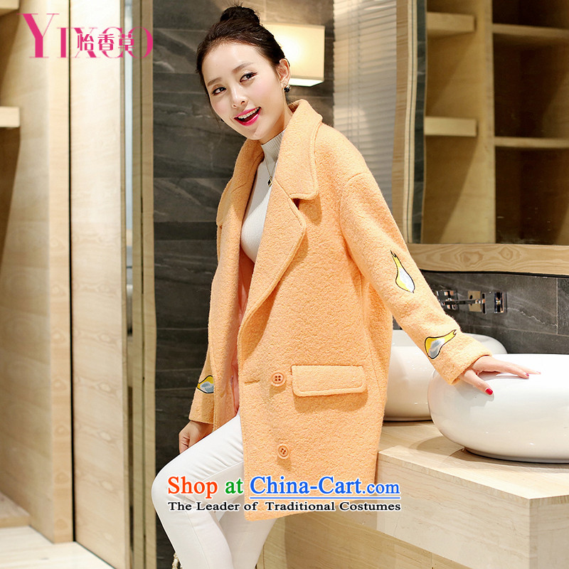 Selina Chow herbs 2015 winter clothing new Korean small Heung-Sau San Mao jacket sweet graphics thin?. Ms. long coats loose cocoon gross?-a wool coat students orange M