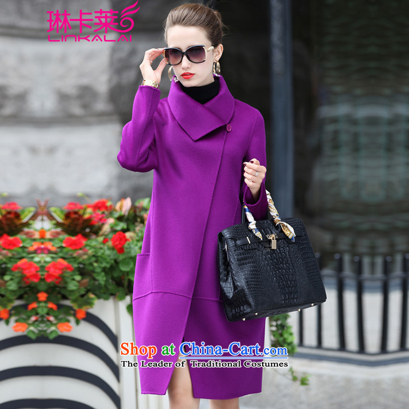 Lin Carlyle 2015 winter new Korean Pure Wool double-sided coats of Sau San Tong manually long wool coat LM6772 VIOLET XL_120-130? catty_