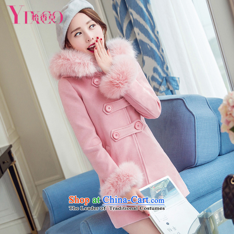 Selina Chow herbs 2015 winter clothing new sweet College wind jacket in gross? Long Korean large Sau San female thick fox gross collar cap Pink Pink coat? M