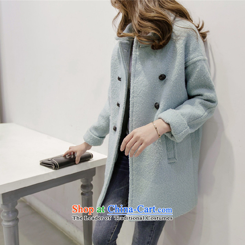 2015 Autumn and winter new Korean small incense wind Sau San video thin thick windbreaker warm wool coat girl in gross? Long han bum a wool coat, Blue M