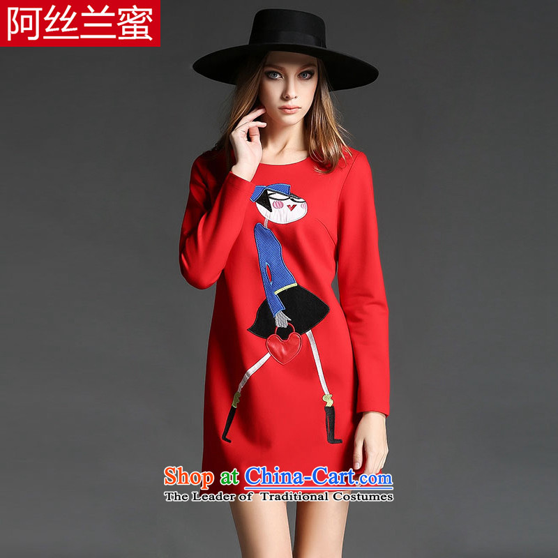 A large number of honey yucca female thick mm video thin winter clothing new cartoon stamp Sau San loose thick dresses ZZ2161�L_150 red 163-164_ through the burden of coal