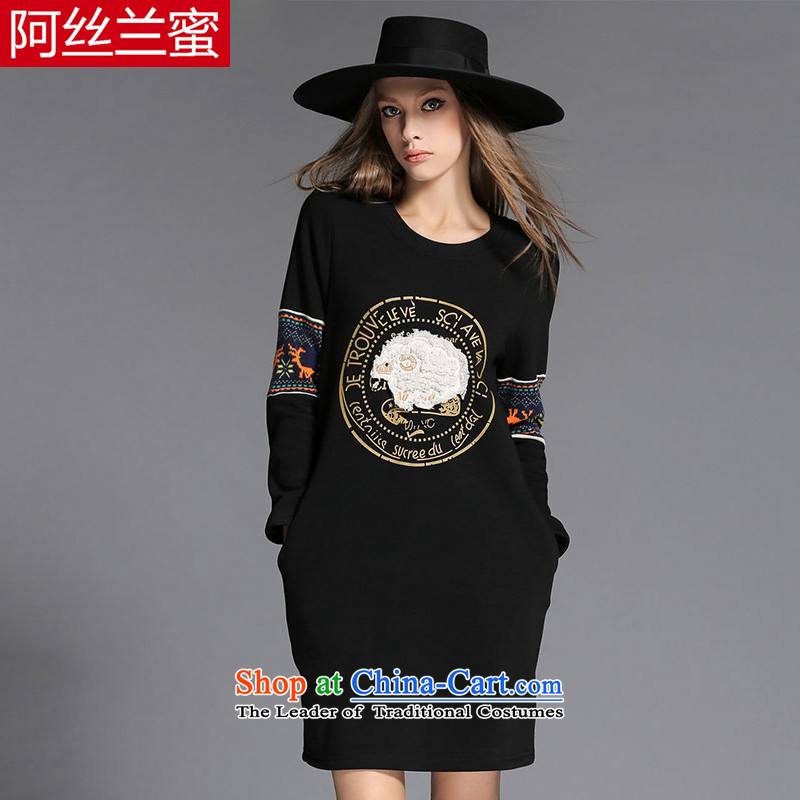 A large number of honey yucca female thick mm video thin winter clothing stamp sheep collage loose reinforcement of the Sau San lint-free dresses ZZ2152 black�L_150 catty - 164 catties through_