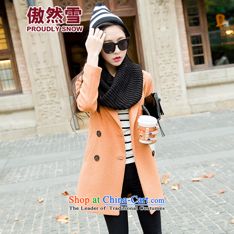 Proudly snow 2015 autumn and winter new wool Korean long hair in Sau San? coats jacket female 6859B ORANGE L