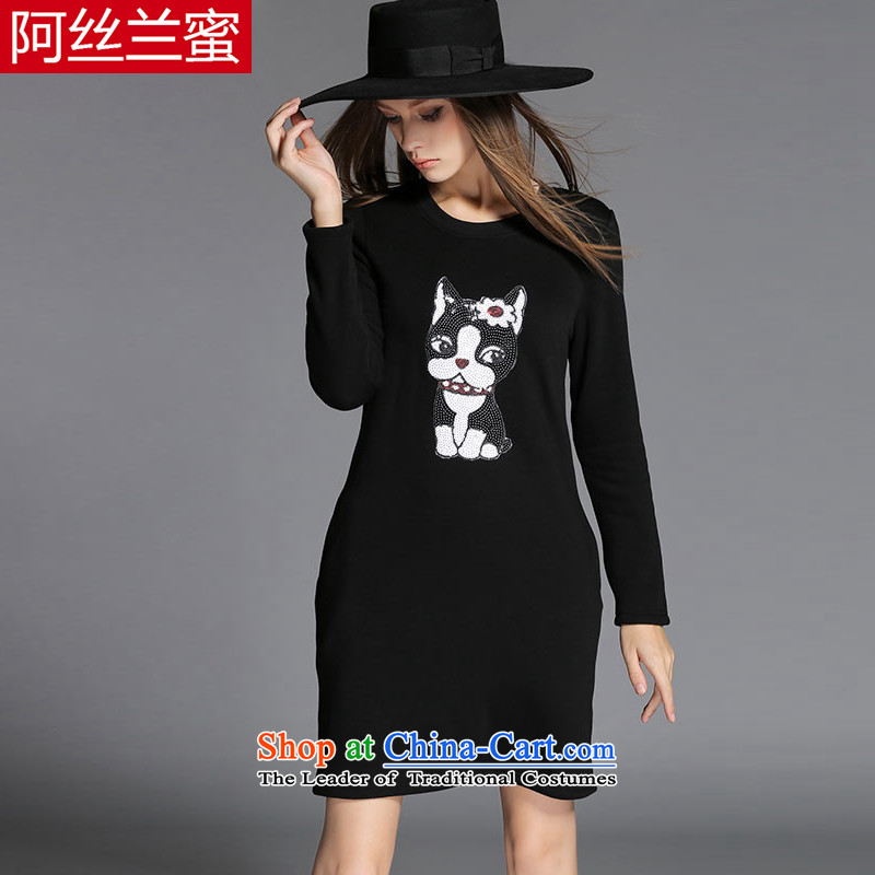 A large number of honey yucca female thick mm video thin winter clothing dog on chip thick plus lint-free Sau San relaxd dress ZZ2150 3XL(150 black catty - 164 catties through)