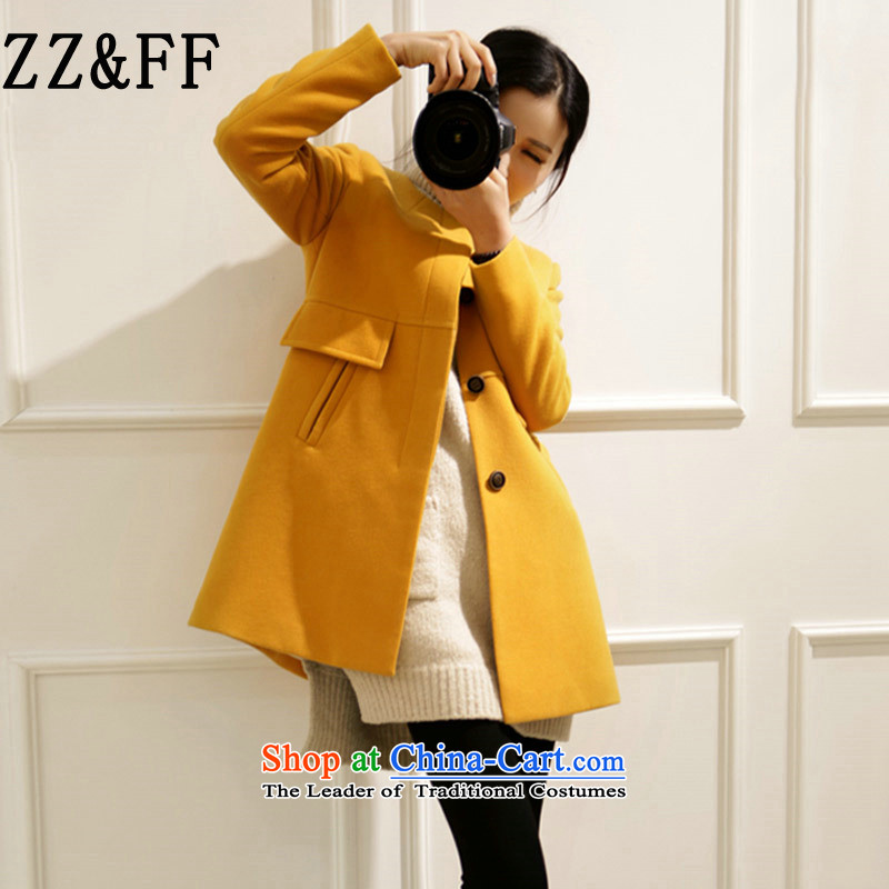 2015 Autumn and winter Zz_ff new Korean version of a field in the large relaxd long coats gross? female a wool coat爐urmeric yellow燲XXL 9 668