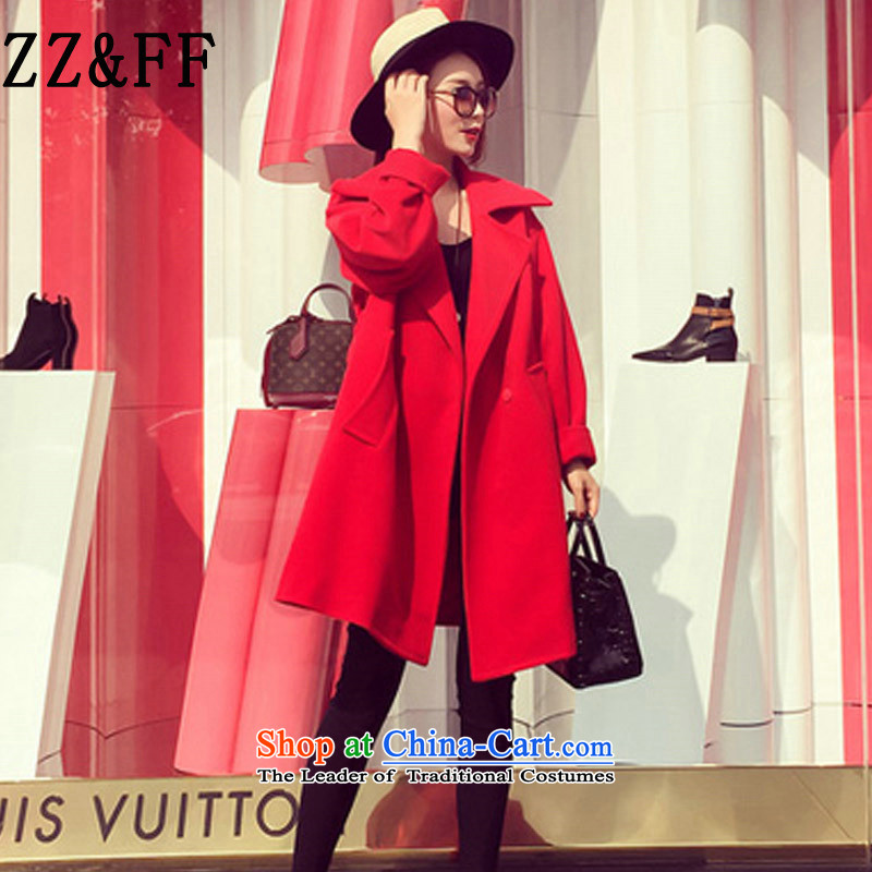 2015 Autumn and winter Zz_ff new Korean loose in long hair thick? a wool coat female COAT� 8963牋XXXL red