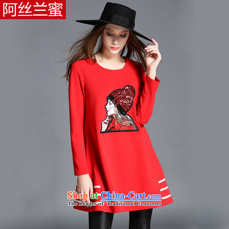 A large number of honey yucca female thick mm thin winter clothing on graphics chip designs in the Sau San stamp long red t-shirt T-Shirt  �L_150 catty - 164 catties through_