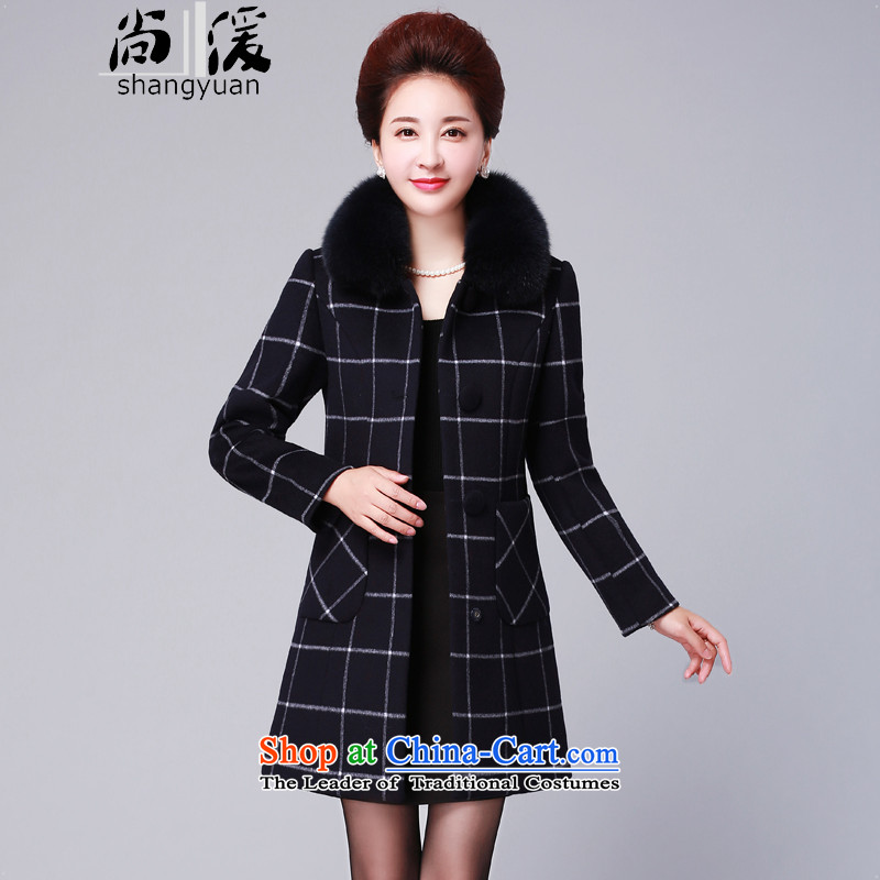 Yet the new winter 2015 湲 Fox Gross non-Cashmere wool for grid a jacket female coats that long Korean blue XXL