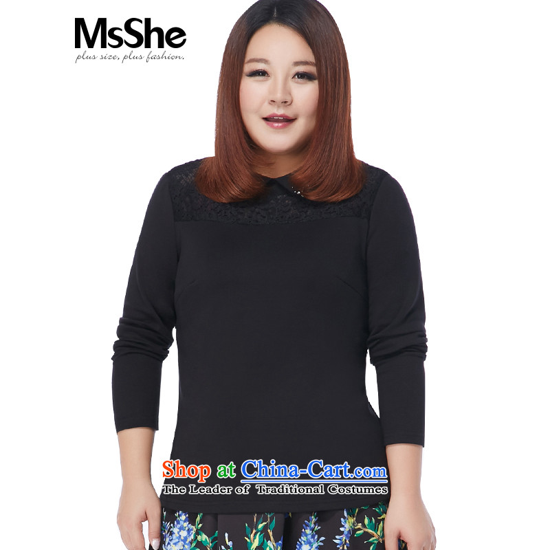 Large msshe women 2015 new winter clothing plus lint-free warm nail Pearl Flip-neck shirt 10673 forming the lace5XL black
