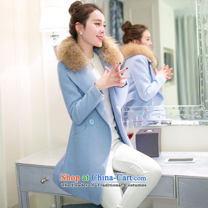 In the thick of Sau San wool a wool coat women燬 Light Blue