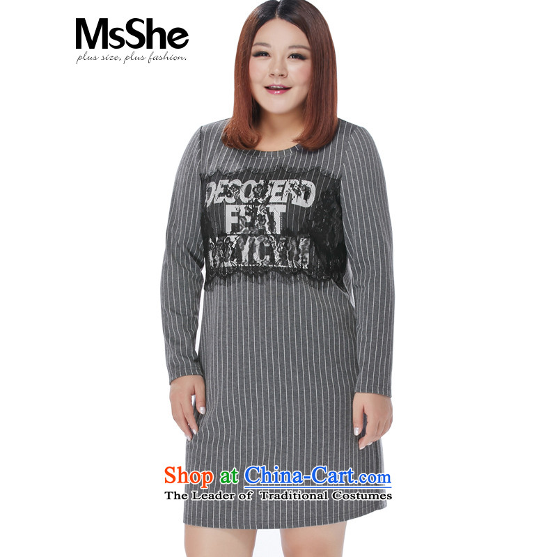 Msshe xl women 2015 new winter clothing lace stitching letters stamp streaks dresses 10,961�L Gray