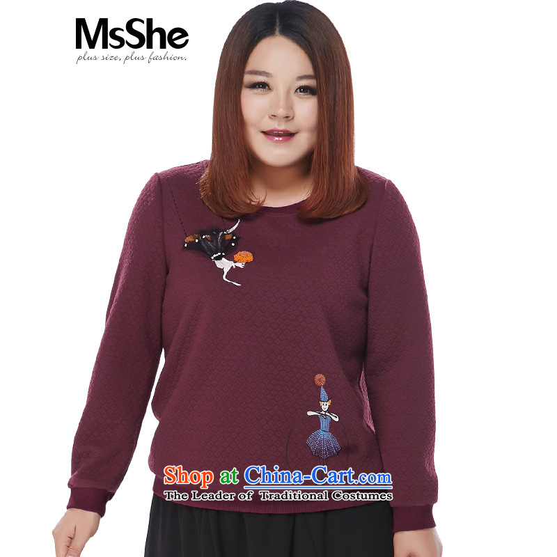 Large msshe women 2015 new winter clothing thick sister embroidery nail-Ju Jin Long-sleeved sweater thickness 200 10,875 dunams were approved bourdeaux 4XL