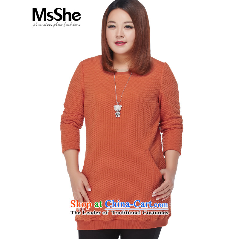 Msshe xl women 2015 new winter clothing thick MM pocket long long-sleeve sweater Thick Orange 3XL 11145