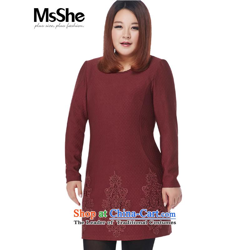 Msshe xl women 2015 new winter clothing thick sister Jacquard Lace round-neck collar stitching Dress Shirt 10575?6XL wine red