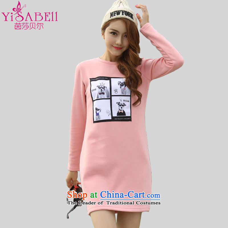 Athena Chu Isabel 2015 autumn and winter large new women's stylish cartoon picture leisure round-neck collar plus lint-free not lint-free long-sleeve sweater Cheongsams� 1351爌ink�L爎ecommendations 130-145 catty