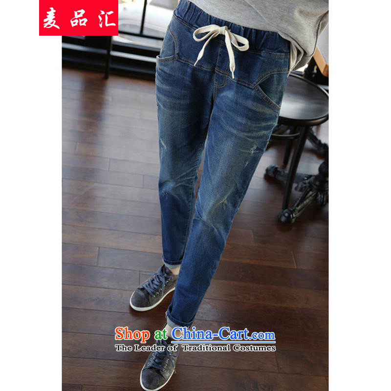 Mr聽Chu boxed products by 2015 for larger ladies pants thick mm Harun Castor trousers thick sister 200 catties jeans elastic waist pant 6138, Video thin blue聽5XL wash