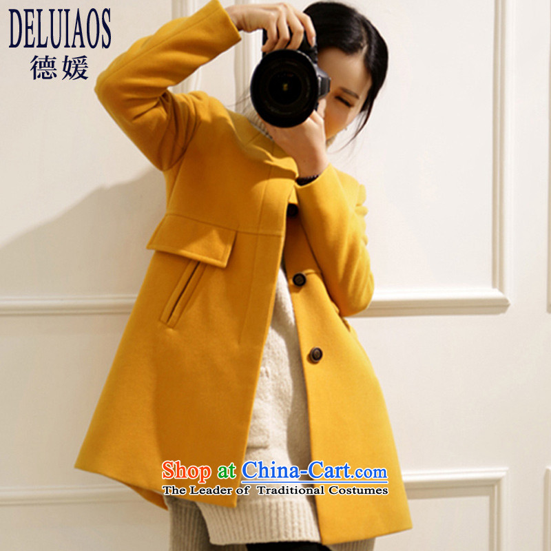 De-yuan燽y 2015 autumn and winter new liberal gross large? women to increase expertise in sister long jacket, female D189燲XXL yellow