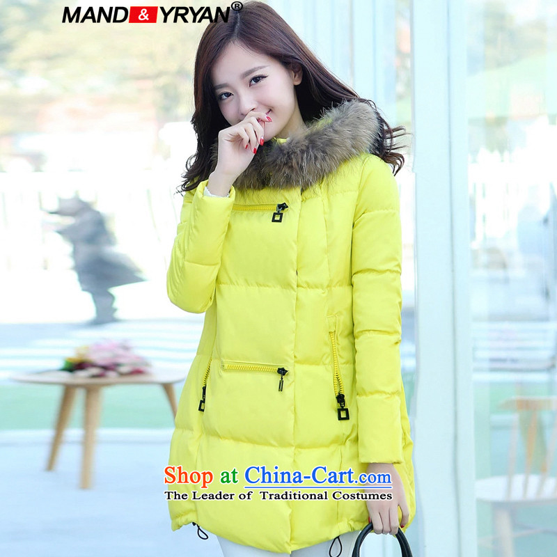 Mantile Eun new larger female winter coat in thick long robe thick MM video with cap with thin cotton coat jacket for yellow MDR2586 XXXL150-160 around 922.747