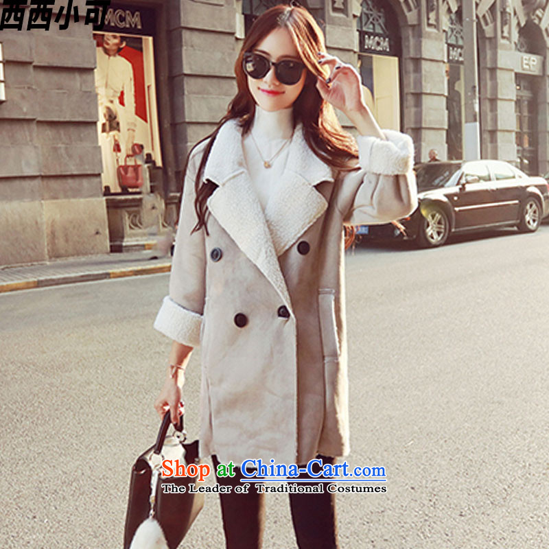 West small爓inter 2015 new personality, double-comfortable inside the lamb wool coat handsome girl wt00191 jacket light gray燬